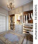 luxurious walk in closet... | Shutterstock . vector #561824041
