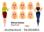 businesswoman making different... | Shutterstock .eps vector #561826801