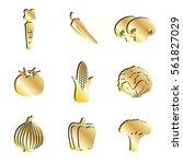 gold vegetables food icon set.  ...   Shutterstock . vector #561827029