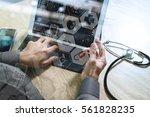 medical doctor hand working... | Shutterstock . vector #561828235