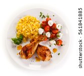 roasted chicken drumsticks... | Shutterstock . vector #561841885
