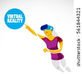 young girl pointing on virtual... | Shutterstock .eps vector #561844321