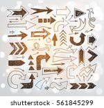 doodle sketch arrows on white... | Shutterstock .eps vector #561845299