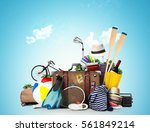 travel and tourism a large pile ... | Shutterstock . vector #561849214