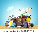 travel and tourism a large pile ... | Shutterstock . vector #561849319