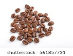 roasted coffee beans isolated... | Shutterstock . vector #561857731