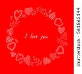 vector doodle hearts frame.... | Shutterstock .eps vector #561862144