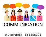 asia people group chat bubble... | Shutterstock .eps vector #561866371