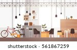 Creative Office Co-working Center University Campus Modern Workplace Flat Vector Illustration | Shutterstock vector #561867259