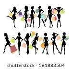 shopping sillhouettes set....   Shutterstock . vector #561883504