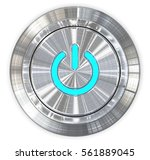 brushed  steel power button. 3d ... | Shutterstock . vector #561889045