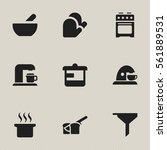set of 9 editable cooking icons.... | Shutterstock .eps vector #561889531