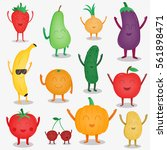 cartoon fruits and vegetables.... | Shutterstock .eps vector #561898471