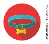 dog collar flat style with long ... | Shutterstock .eps vector #561907711