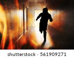 silhouette of person running... | Shutterstock . vector #561909271