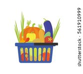 vegetable shop basket flat... | Shutterstock .eps vector #561910999