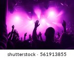 raised hands of fans during a... | Shutterstock . vector #561913855