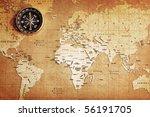 an old brass compass on a... | Shutterstock . vector #56191705