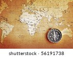 an old brass compass on a... | Shutterstock . vector #56191738