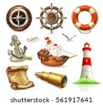 marine set. summer vacation 3d... | Shutterstock .eps vector #561917641