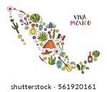 doodles set of mexico in... | Shutterstock .eps vector #561920161