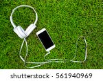 white headphones and white... | Shutterstock . vector #561940969
