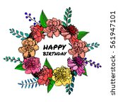 a hand drawn floral vector... | Shutterstock .eps vector #561947101