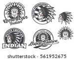 set of american indian round... | Shutterstock .eps vector #561952675