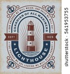 vintage lighthouse typography | Shutterstock . vector #561953755