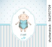 baby shower. greeting card.  | Shutterstock .eps vector #561957709
