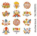 kids organic menu hand drawn... | Shutterstock .eps vector #561982051