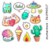 cool set of stickers in 80s 90s ... | Shutterstock .eps vector #561990517