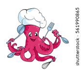 cute cartoon octopus chef in... | Shutterstock .eps vector #561990865