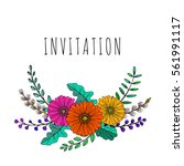 a hand drawn floral vector... | Shutterstock .eps vector #561991117