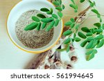 Small photo of Moringa (Also known as Moringa oleifera Lam., MORINGACEAE, Futaba kom hammer, or vegetable hum hum bug) leaf and seed