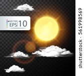 realistic cloud with the sun in ... | Shutterstock .eps vector #561998569