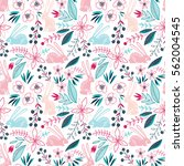 seamless romantic floral vector ...   Shutterstock .eps vector #562004545