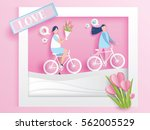 lovely young joyful couple ride ... | Shutterstock .eps vector #562005529