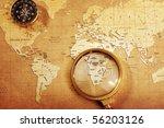 an old brass compass on a...   Shutterstock . vector #56203126