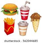 fast food set vector... | Shutterstock .eps vector #562044685
