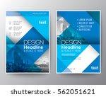 blue diagonal line brochure...   Shutterstock .eps vector #562051621