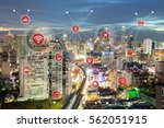 smart city concept  wireless... | Shutterstock . vector #562051915