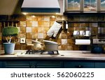 interior blue kitchen. kind of... | Shutterstock . vector #562060225