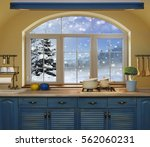 interior blue kitchen.... | Shutterstock . vector #562060231