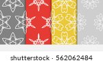 set of damask floral seamless... | Shutterstock .eps vector #562062484
