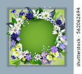 spring  primroses 3d card with... | Shutterstock .eps vector #562062694