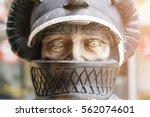 Sculpture Of A Man In A Helmet...