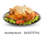roasted chicken isolated on... | Shutterstock . vector #562075741