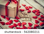 Gift Box And Red Heart With...