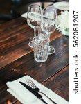 glasses  flowers  fork  knife... | Shutterstock . vector #562081207